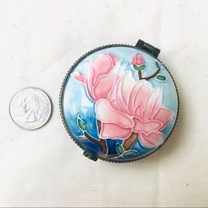Hand painted mini porcelain jewelry box